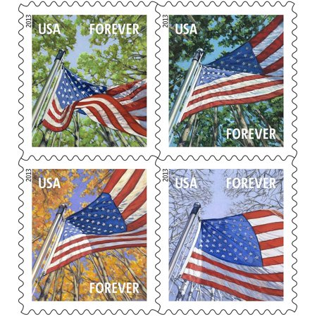 Usps Usa Forever First Class Postage Stamps Flags For All Seasons Book 60 Ct Walmart Com