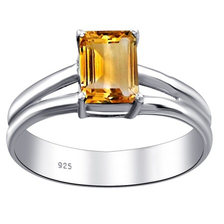 Essence Jewelry 925 Sterling Silver 1 Carat Citrine Octagon Shape Ring Size -7