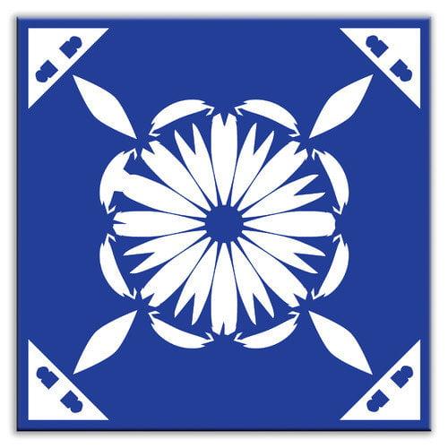 Oscar & Izzy Folksy Love 6'' x 6'' Glossy Decorative Tile in Gram's Kitchen Blue