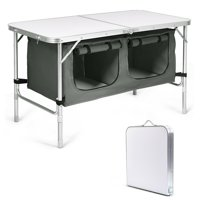 Gymax Folding Camping Table Aluminum Height Adjustable w/ Storage Organizer Grey