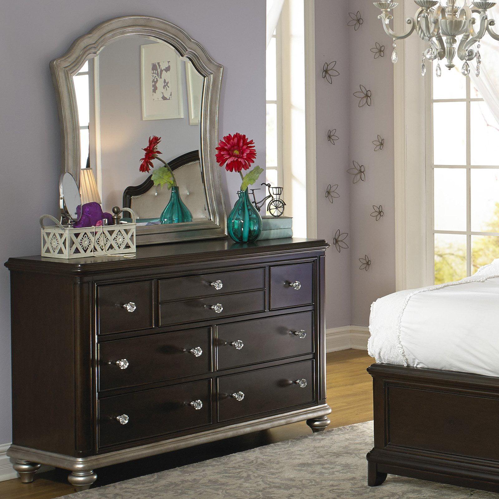 Girls Glam 7 Drawer Dresser Dark Cherry by Home Meridian International Inc