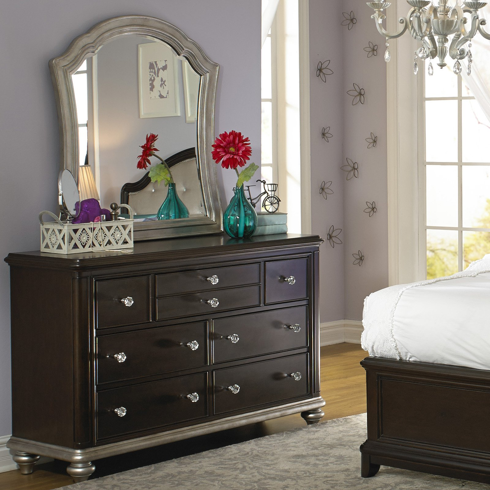Girls Glam 7 Drawer Dresser - Dark Cherry