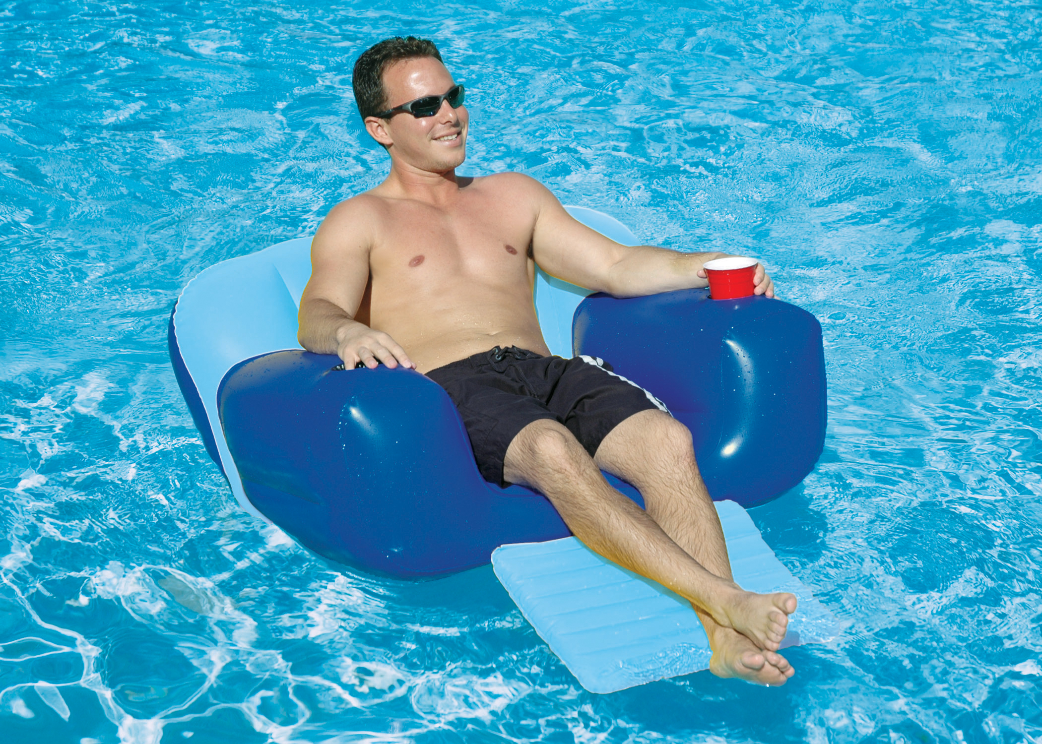 Delicieux Adult Aqua Chair Swimming Pool Float W/ Foot Rest + 2 Cup Holders    Walmart.com