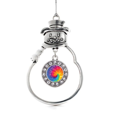 Tie Dye Circle Snowman Holiday - Holiday Ornaments Tie
