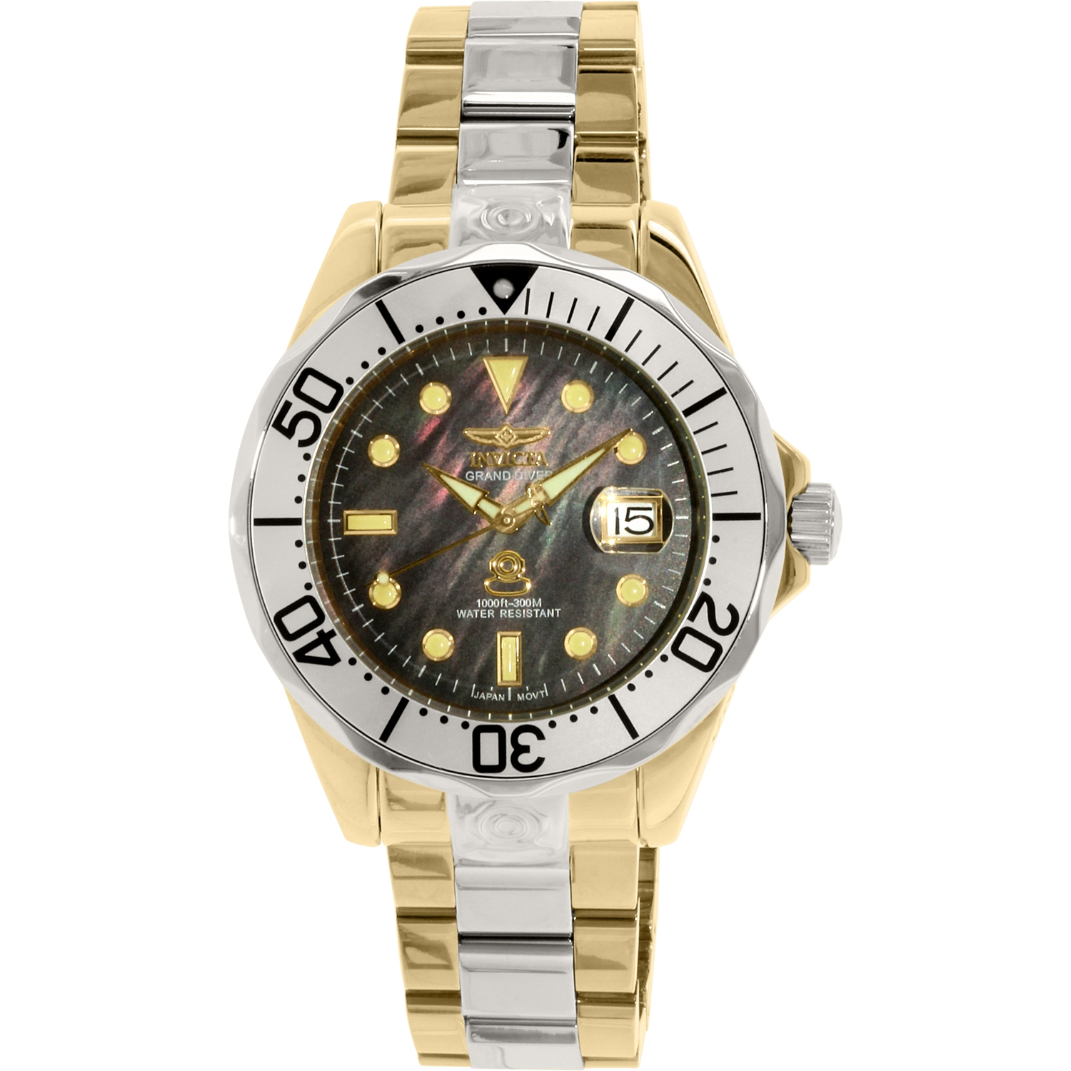 Invicta Pro Diver Men 47mm Stainless Steel Gold + Stainless Steel Black dial NH35A Automatic Watch
