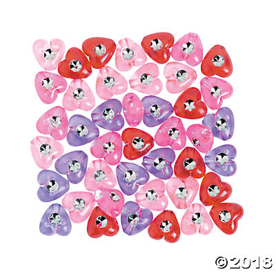 Heart Beads with Rhinestones - 8mm (pack of 1)