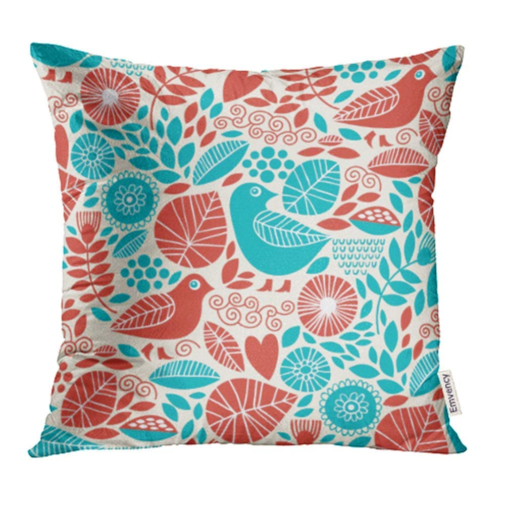 ARHOME Blue Flower with Birds Red Child Whimsical Dot Floral Garden Swirl Abstract Pillow Case Pillow Cover 18x18 inch Throw Pillow Covers