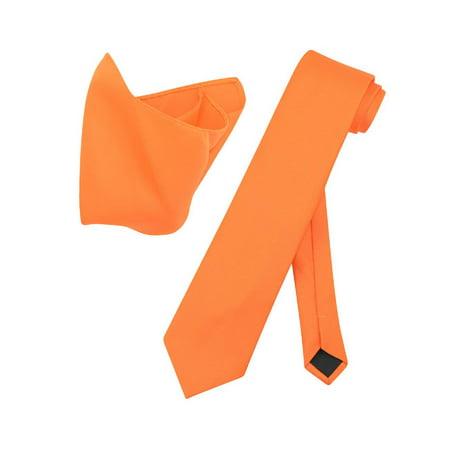 Vesuvio Napoli Solid EXTRA LONG ORANGE NeckTie Handkerchief Mens Neck Tie Set