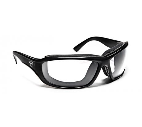 Image of 7 Eye Air Shield Derby Sunglasses, SharpView Clear Lens, Glossy Black Frame,M-XL 2