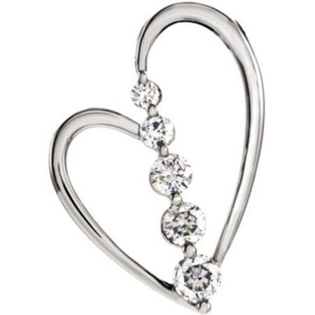 - 14kt White 1/2 CTW Diamond Journey Heart Pendant 65449 / 14Kt White / 1/2 Ct Tw / Polished / Journey Diamond Heart Pendant