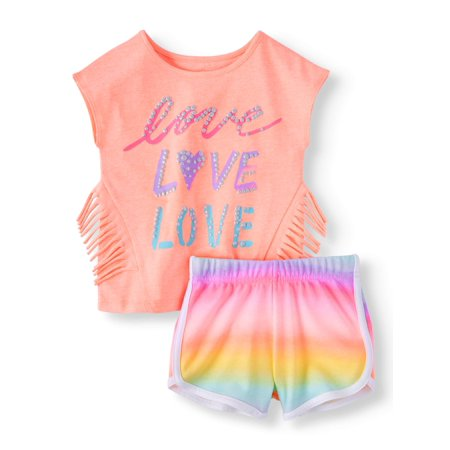 Garanimals Fringe T-Shirt & Print Dolphin Shorts, 2pc Outfit Set (Toddler Girls)](Kids Outfit)