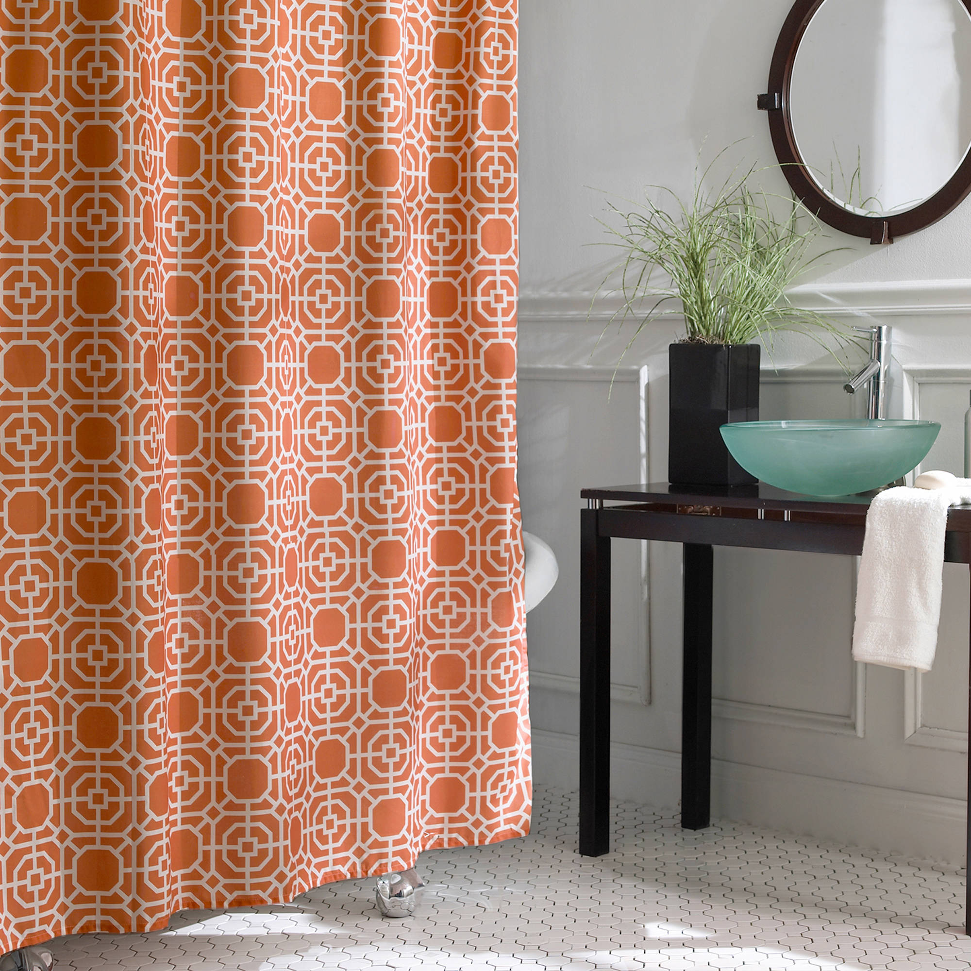 Excell Dartmouth Fabric Shower Curtain, Coral
