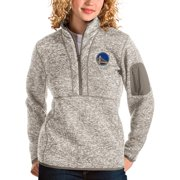 Golden State Warriors Antigua Women's Fortune Quarter-Zip Pullover Jacket - Natural