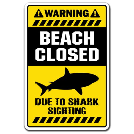 BEACH CLOSED DUE TO SHARK Aluminum Sign lifeguard theme kids room surfer new | Indoor/Outdoor | 10