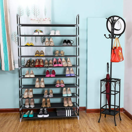 10 Tier Shoe Organizer for Closets, Shoe Storage, Non-woven Fabric Shoe Shelf, Heavy Duty Boot Rack with Metal Tubes, Rustproof Shoe Stand for Entryway Foyer, 39