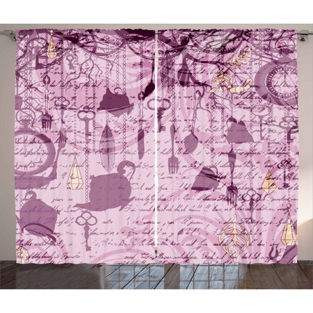 Tea Party Curtains 2 Panels Set, Grungy Hanging Tea Cups Clocks and ...