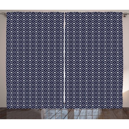 Navy Blue Curtains 2 Panels Set, Chinese Inspired Curved Floral Arrangement Abstract Composition Round Lines, Window Drapes for Living Room Bedroom, 108W X 90L Inches, Dark Blue White, by Ambesonne