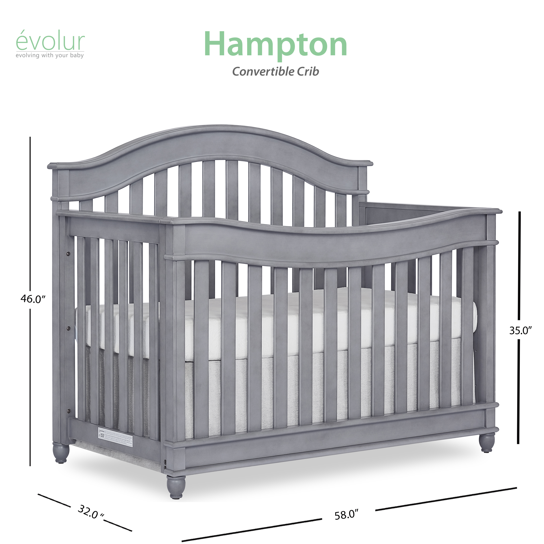Evolur Hampton 5 In 1 Convertible Crib Double Dresser Mattress Value Bundle