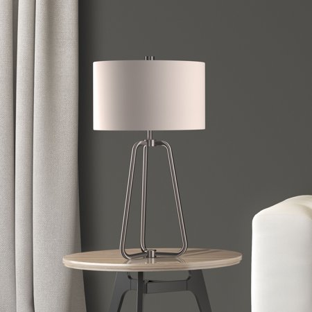 Marduk Modern Farmhouse Table Lamp in Brushed Silver Nickel Finish with Linen Shade