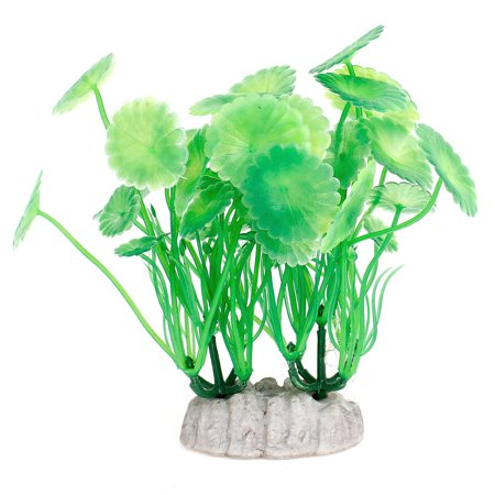 Unique Bargains 2 x Fish Tank Aquarium Decor Green Emulational Plastic Grass Plants 4.7 High