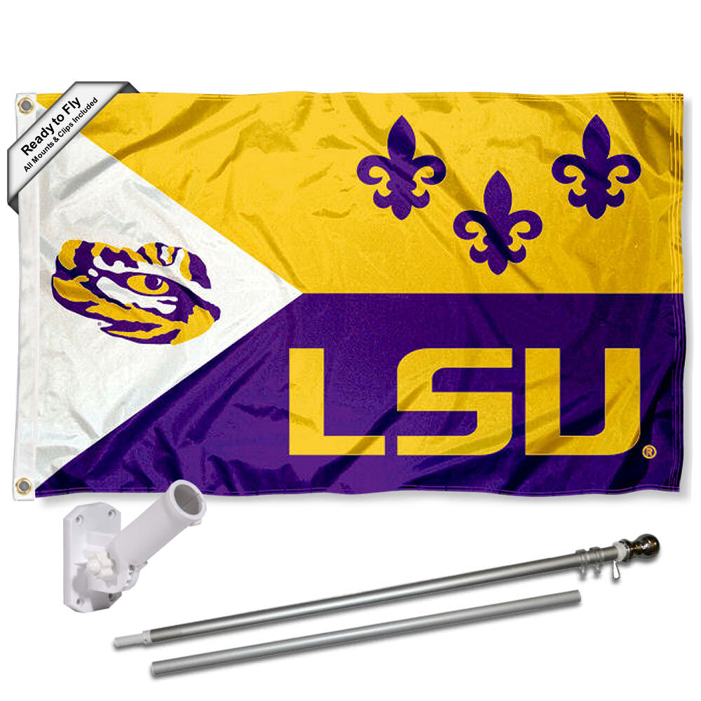 LSU Tigers Acadian 3x5 Flag and Accessory Kit