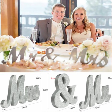 Large Valentines Gifts Wooden Mr & Mrs Silver Shining Standing Letters Plaque Sign Wedding Engagement Table Decoration Best