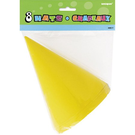 (4 Pack) Party Hats, Yellow, 8ct - Party Har