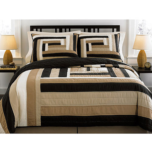 Hometrends Wave Box Sham, Black and Tan