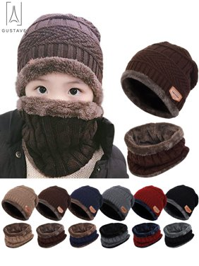 """GustaveDesign 2 Pieces Kids Winter Warm Knitted Hat and Scarf, Knit Beanie Cap Fleece Lining Thick Knit Skull Cap for Boys and Girls """"Brown"""""""