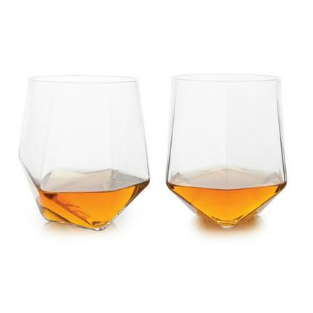 Glass Tumbler  Seneca Faceted Crystal Whisky Insulated Tumbler Set  Set Of 2