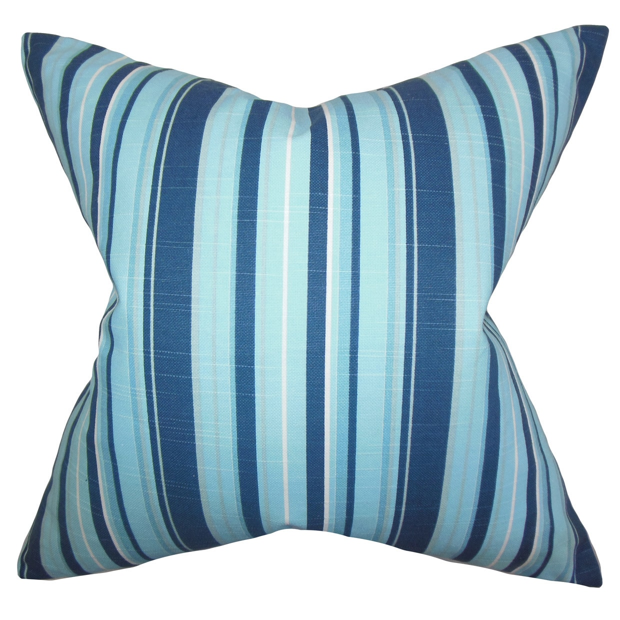 The Pillow Collection Gautier Stripes 22-inch Down Feather Throw Pillow Blue
