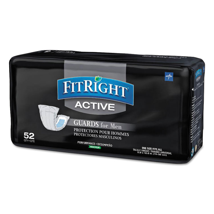 medline Fitright Active Male Guards, 6 X 11, White, 52/pa...