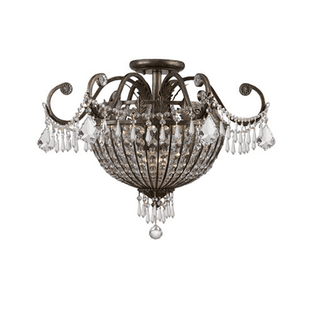 Semi Flush Mounts 9 Light With English Bronze Wrought Iron Candelabra 24 inch 540 Watts - World of Lighting ()