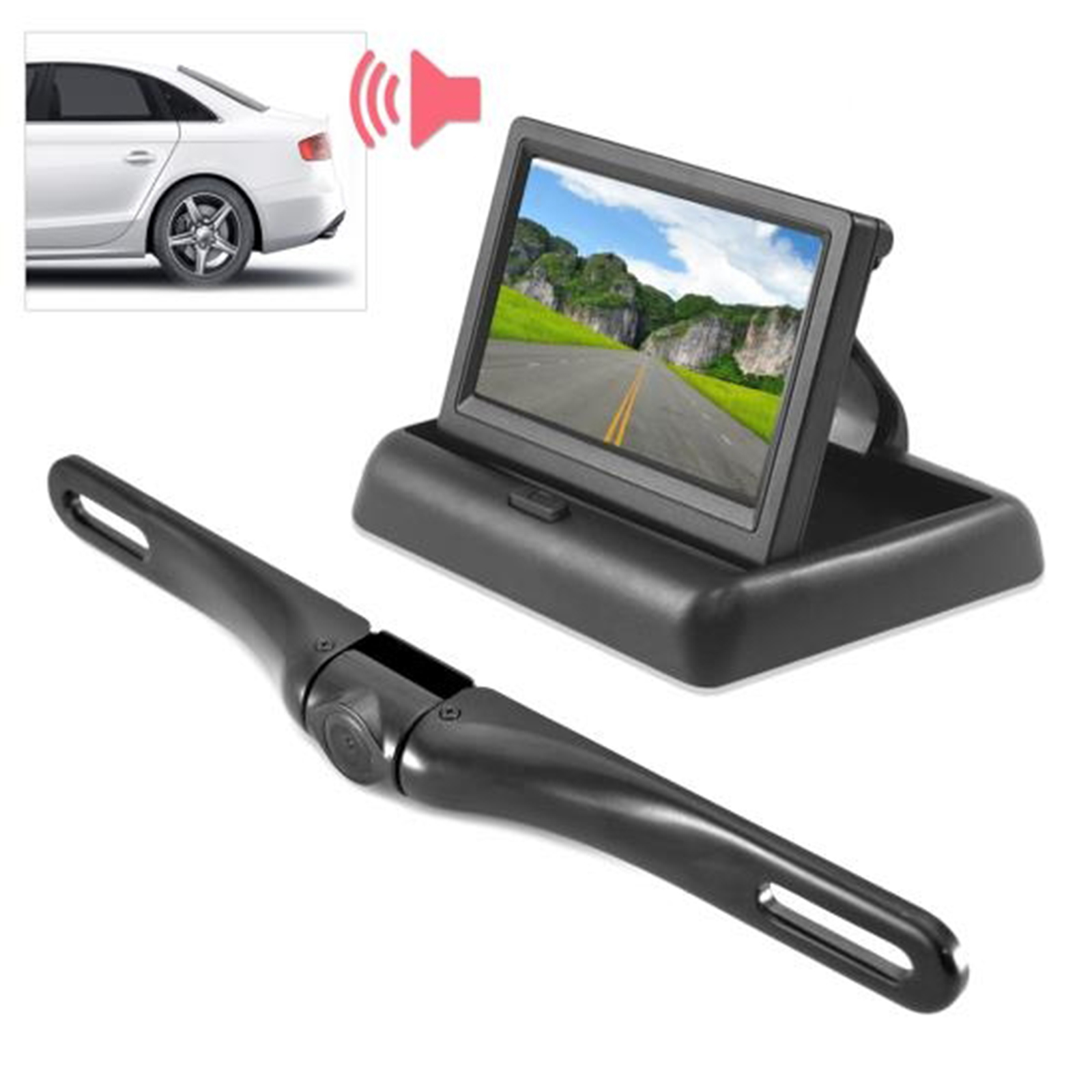 "Rearview Backup Camera & Monitor Driving Assist System, Parking / Reverse Speaker Alarm Depth Sensor, Waterproof Night Vis Angle Adjustable Cam, 4.3"" LCD Display"