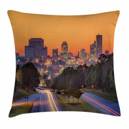 United States Throw Pillow Cushion Cover, Skyline of Columbia City South Carolina Main Street Urban Scene, Decorative Square Accent Pillow Case, 18 X 18 Inches, Orange Dark Green Blue, by Ambesonne