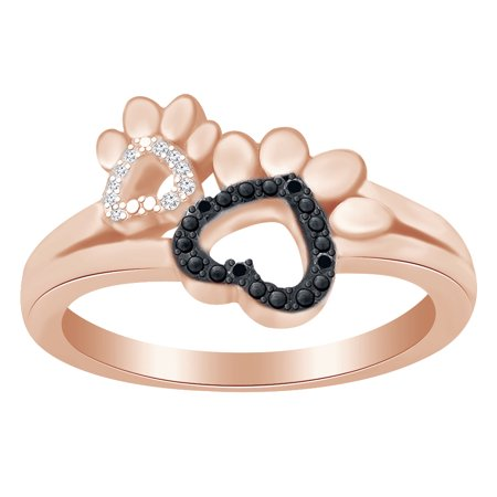 Round Cut White & Black Diamond Paw Print Promise Ring In 14K Rose Gold Over Sterling Silver