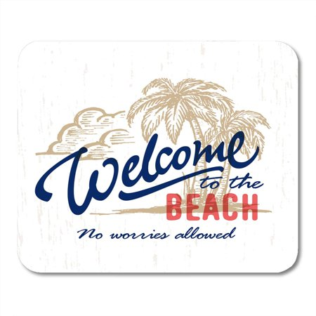 SIDONKU Welcome to The Beach' Vintage Sign with Palm Trees Ink Drawing Typographic Summer Exotic Tropical Mousepad Mouse Pad Mouse Mat 9x10 inch