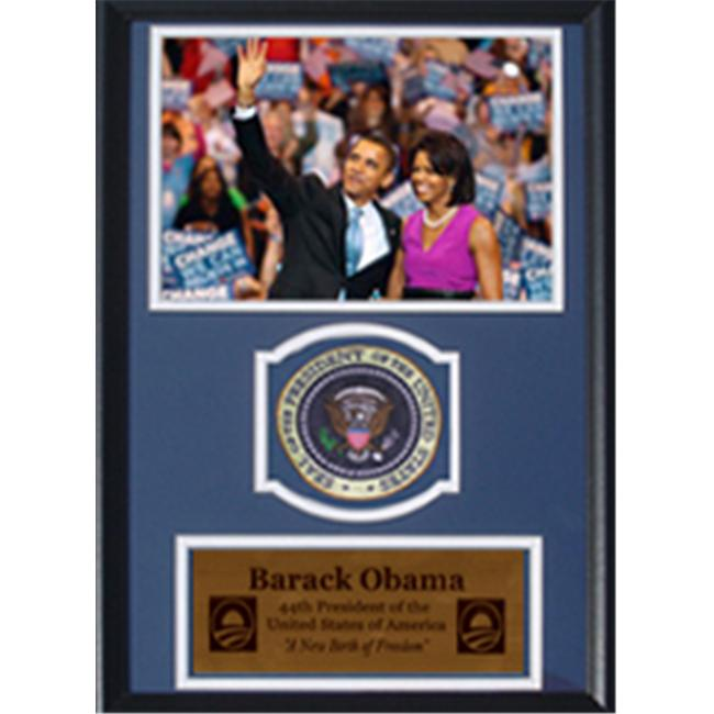 Encore Select 189-JX16708-1 Barack Obama and Michelle Obama with Presidential Commemorative Patch in a 12 inch x 18 inch