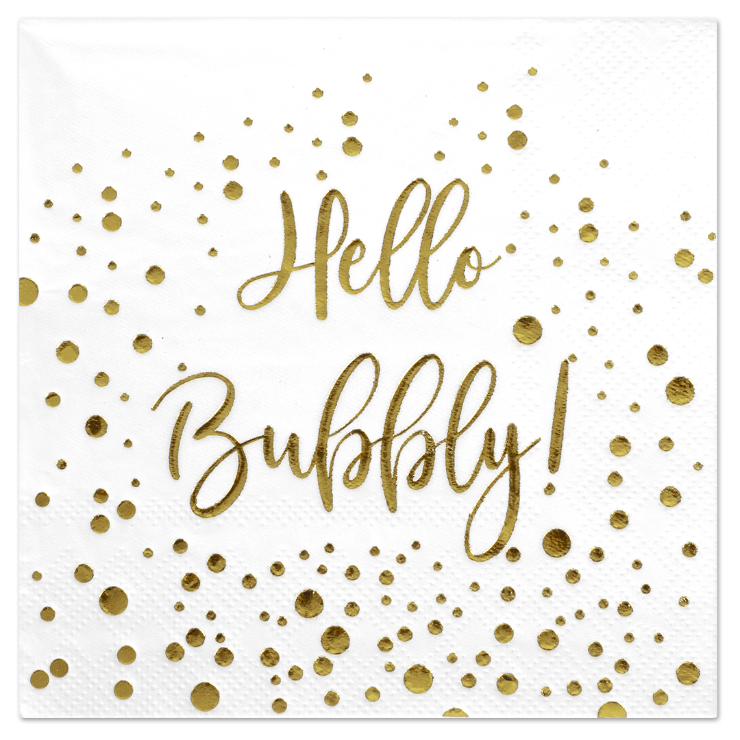 Koyal Wholesale Hello Bubbly, Funny Quotes Cocktail Napkins, Gold Foil, Bulk 50 Pack Count 3 Ply Napkins