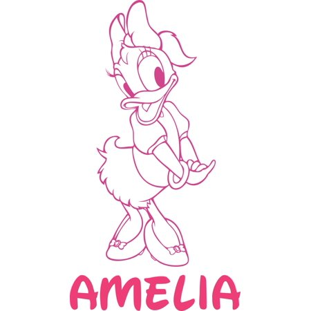 Daisy Duck Donald Mickey Disney Customized Wall Decal - Custom Vinyl Wall Art - Personalized Name - Baby Girls Boys Kids Bedroom Wall Decal Room Decor Wall Stickers Decoration Size (20x12 inch) Baby Daisys Walk