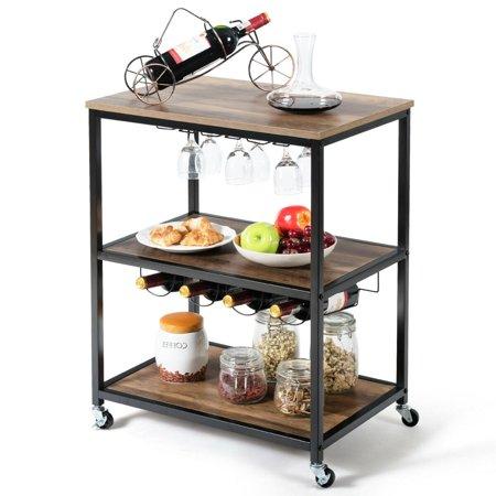 Gymax 3-Tier Rolling Kitchen Cart Utility Serving Bar Cart w/Glass Holder & Wine Rack Dining Room Kitchen Serving Cart