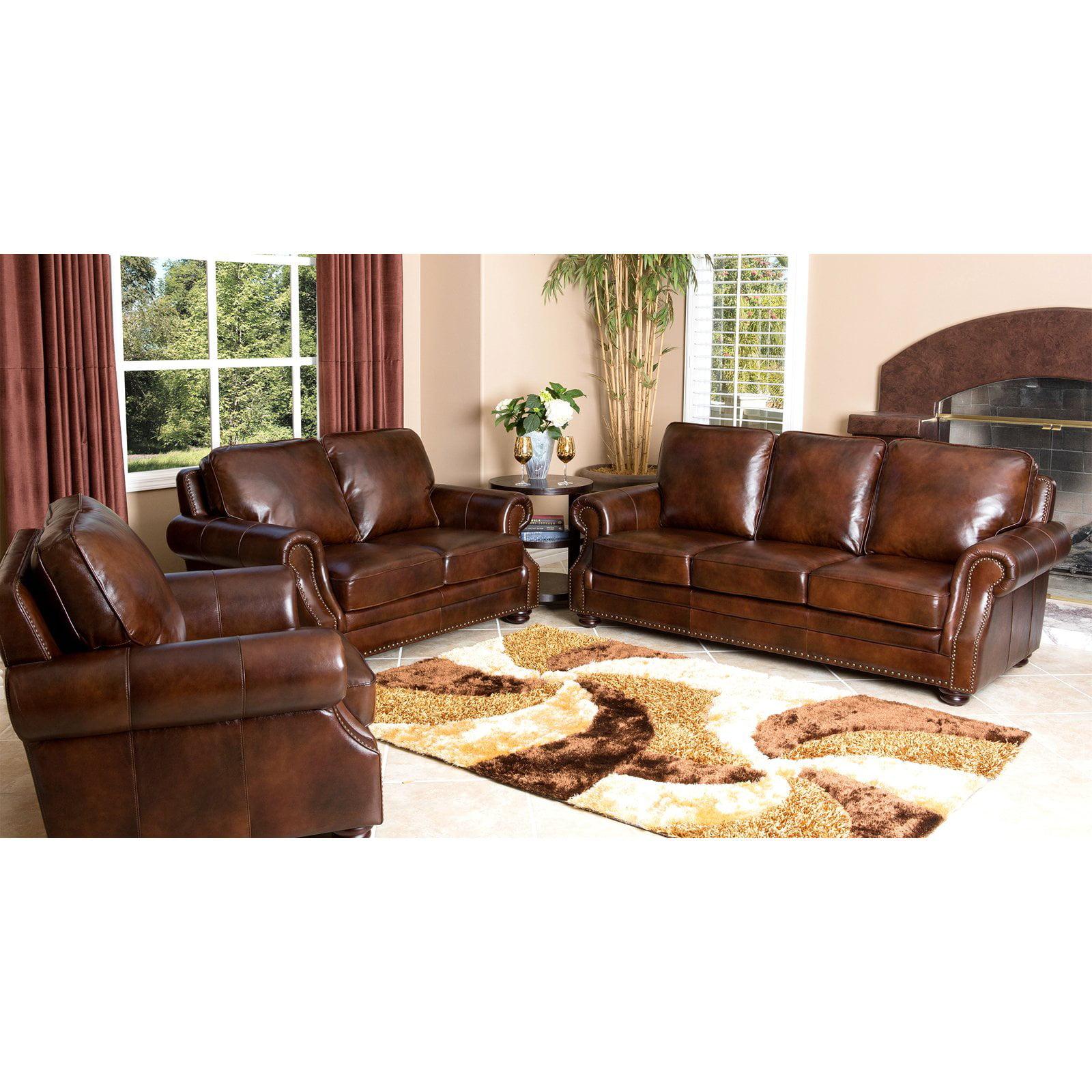 Abbyson Karington 3 Piece Hand Rubbed Leather Sofa Set - Brown