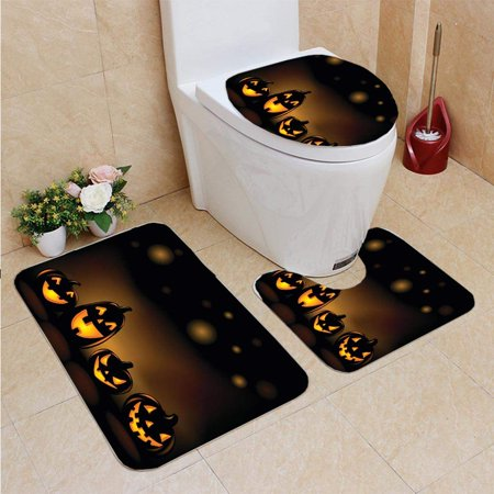 EREHome Laughing Halloween Lanterns 3 Piece Bathroom Rugs Set Bath Rug Contour Mat and Toilet Lid Cover - image 1 de 2