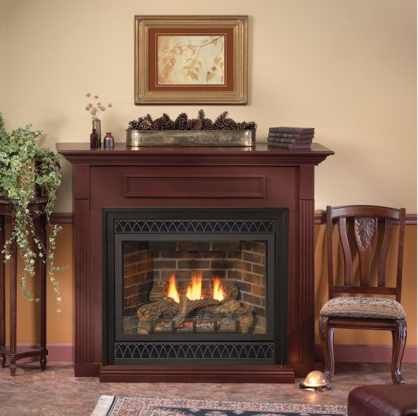 Tahoe Deluxe 36 DV MV Fireplace with Rectangle Doors, LP