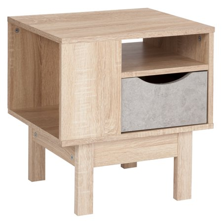 Flash Furniture St. Regis Collection End Table in Oak Wood Grain Finish with Gray Drawer