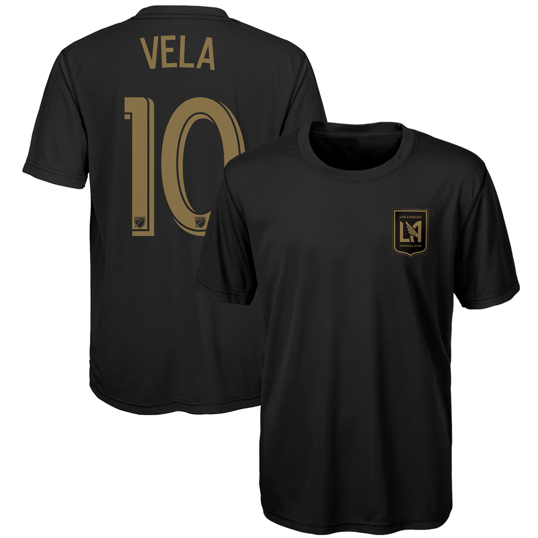 Carlos Vela LAFC Youth Name & Number Performance T-Shirt - Black