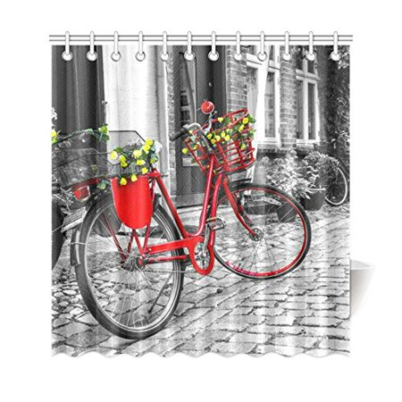 GCKG European City Life Shower Curtain, Vintage Bicycle Cobblestone Street Polyester Fabric Shower Curtain Bathroom Sets 66x72 Inches - image 3 of 3