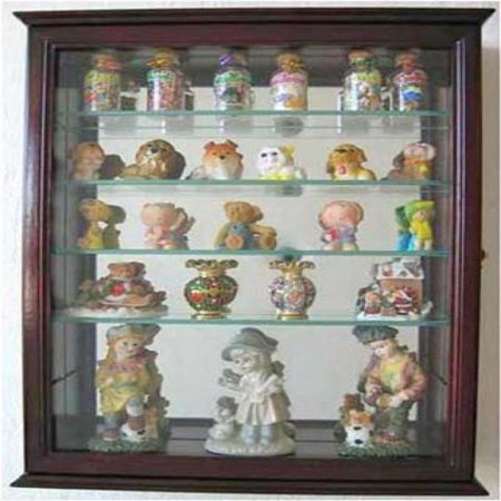 Small Wall Mountable Curio Cabinet Shadow Box, with Glass Door, Mirrored Back, CD06