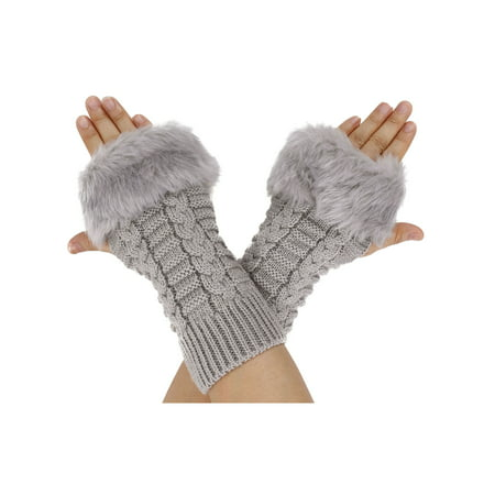 Women Fingerless Faux Fur Winter Warm Wrist Knitted Wool Mitten