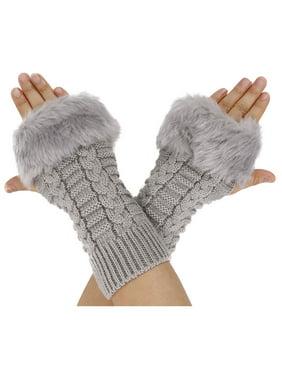 Women Fingerless Faux Fur Winter Warm Wrist Knitted Wool Mitten Glove